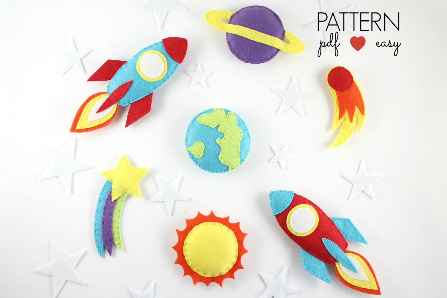 Space Baby Mobile Pattern - Planets Spaceship Pattern