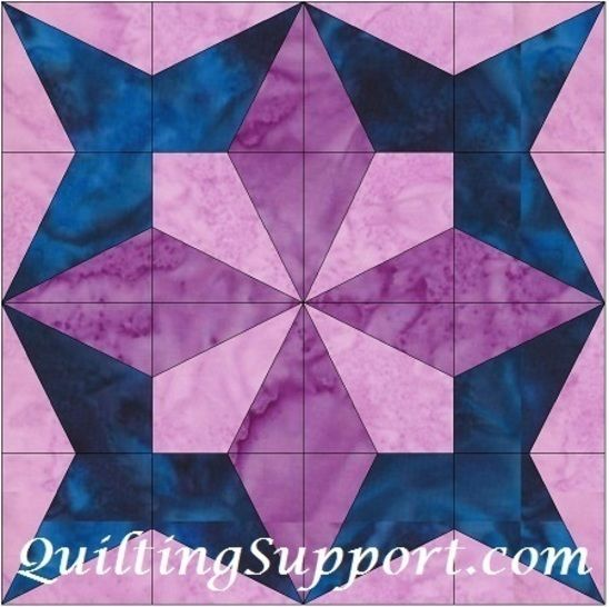 Petal Star 10 Inch Paper Piece Foundation Block Quilting Pattern at Makerist - Image 1