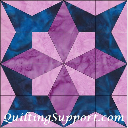 Petal Star 10 Inch Paper Piece Foundation Block Quilting Pattern