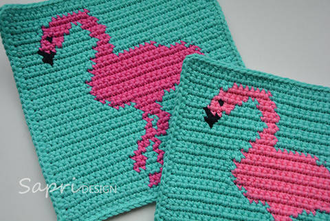 Flamingo Potholder Pattern (with Crochet Basics) at Makerist