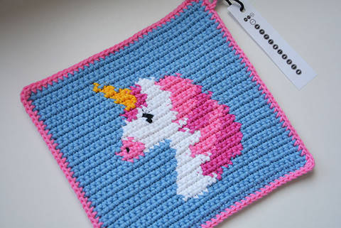 Unicorn Potholder Pattern (with Crochet Basics) at Makerist