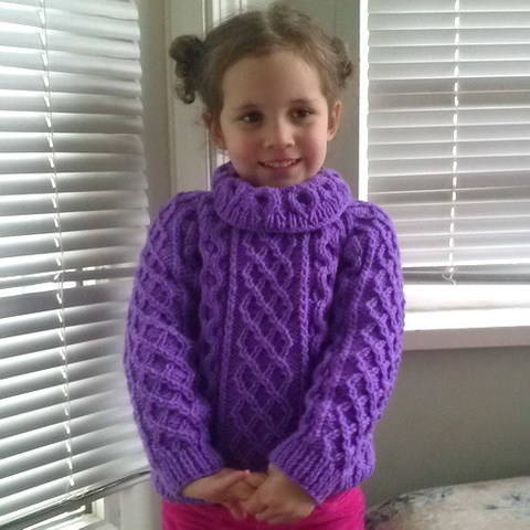 Zoe's aran sweater jumper - child knitting pattern