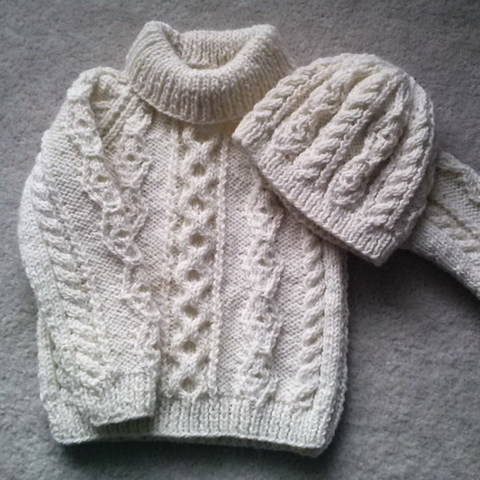 Donal child's aran sweater and hat - knitting pattern