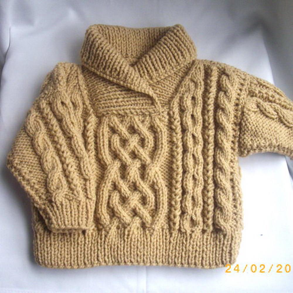 Liam child's aran sweater - knitting pattern