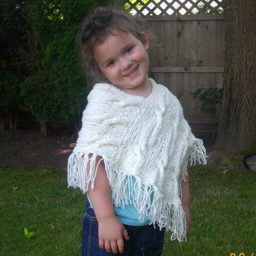 Caireann shawl poncho for girls - knitting pattern