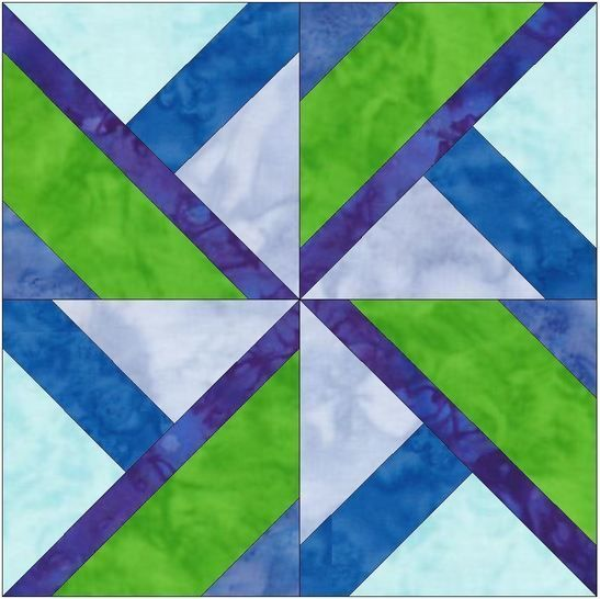 Seattle Pinwheel 15 Inch Quilting Template Block Pattern at Makerist - Image 1