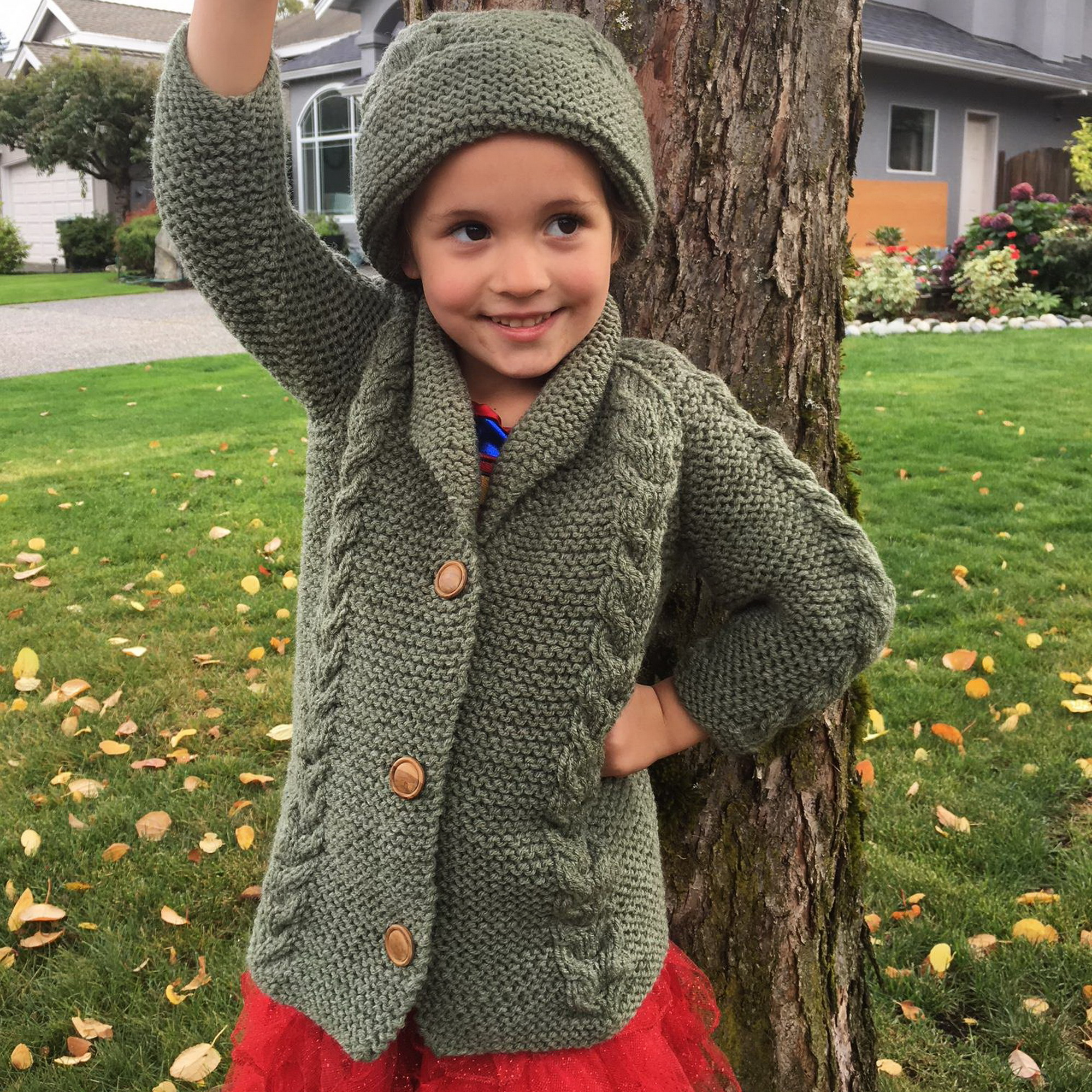 Saraid girls cable coat and hat - knitting pattern