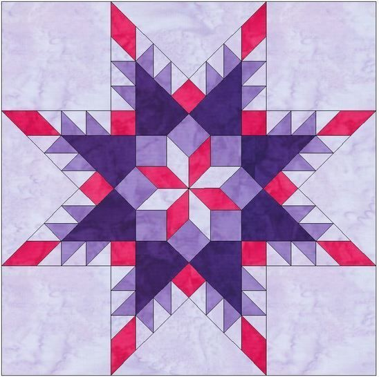 Feathered Star in Star 10 Inch Paper Piece Foundation Quilting Block Pattern at Makerist - Image 1