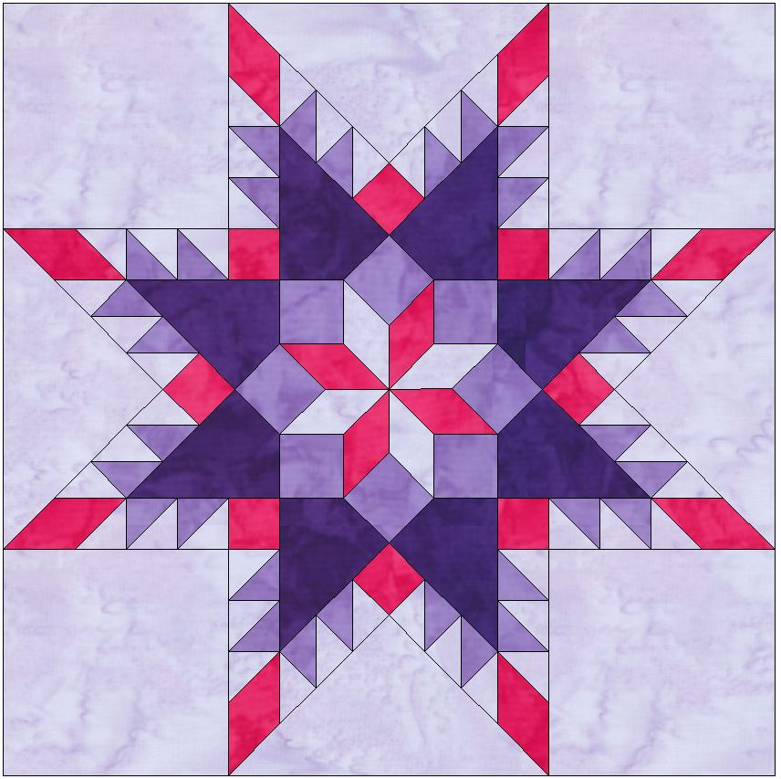 Feathered Star in Star 10 Inch Paper Piece Foundation Quilting Block Pattern