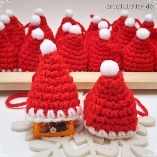 Weihnachtsmütze mit Praline - Häkelanleitung bei Makerist - Bild 1