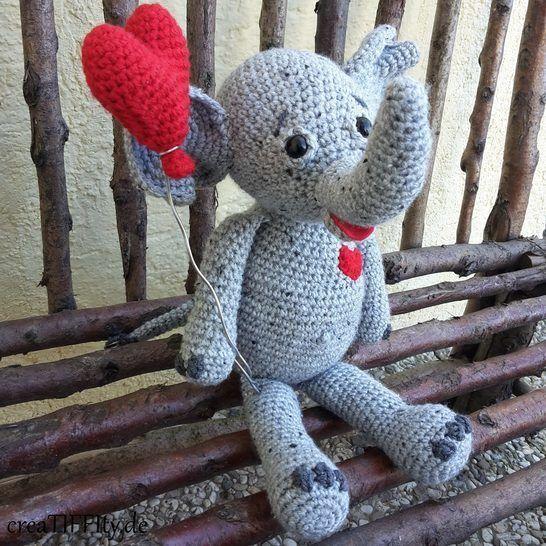 Elefant Lina: Zeig-Herz-Tierchen No. IV - Häkelanleitung bei Makerist - Bild 1