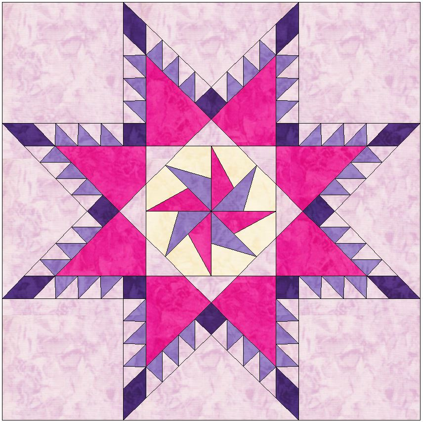 Feathered Pinwheel Star 10 Inch Block Paper Piecing Foundation Quilt Pattern