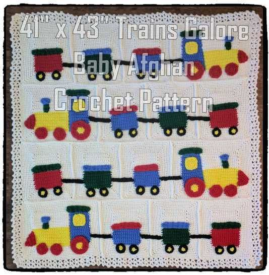 Trains Galore Baby Blanket Crochet Pattern at Makerist - Image 1
