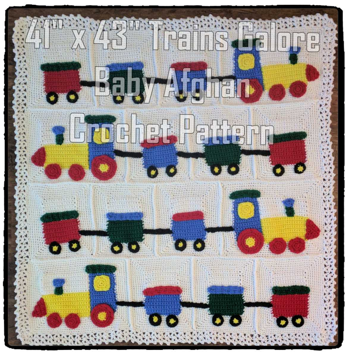 Trains Galore Baby Blanket Crochet Pattern
