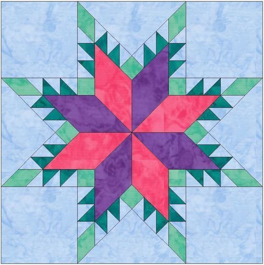 Feathered Lemoyne Star 10 Inch Paper Piecing Foundation Quilting Block Pattern at Makerist - Image 1