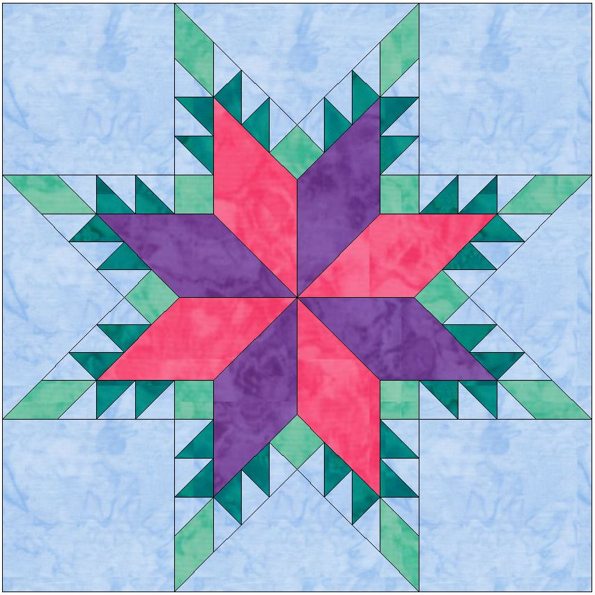 Feathered Lemoyne Star 10 Inch Paper Piecing Foundation Quilting Block Pattern