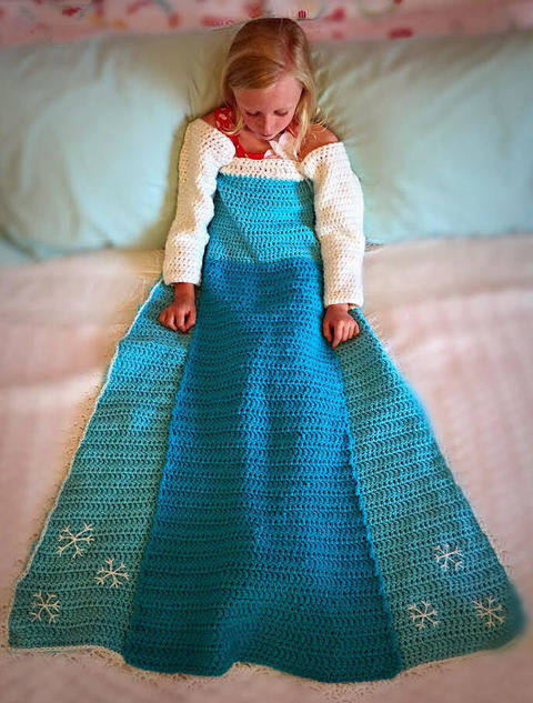 Elsa Princess Dress Blanket Crochet Pattern at Makerist
