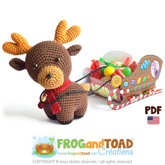 Reindeer + Candy Sleigh - Amigurumi Crochet Patron  at Makerist - Image 1
