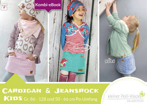 Kombi eBook • Cardigan & Jeansrock • Gr. 86 - 128 bei Makerist