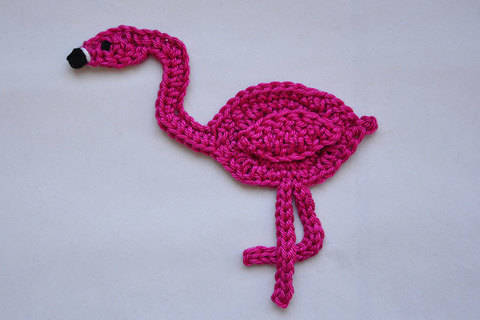 Flamingo Applikation / Aufnäher Häkelanleitung