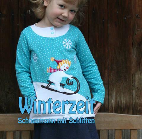 Winterzeit - Schneemann mit Schlitten Applikationsvorlage bei Makerist