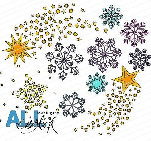Winterzeit - Eiskristalle und Sterne Plotterdatei bei Makerist