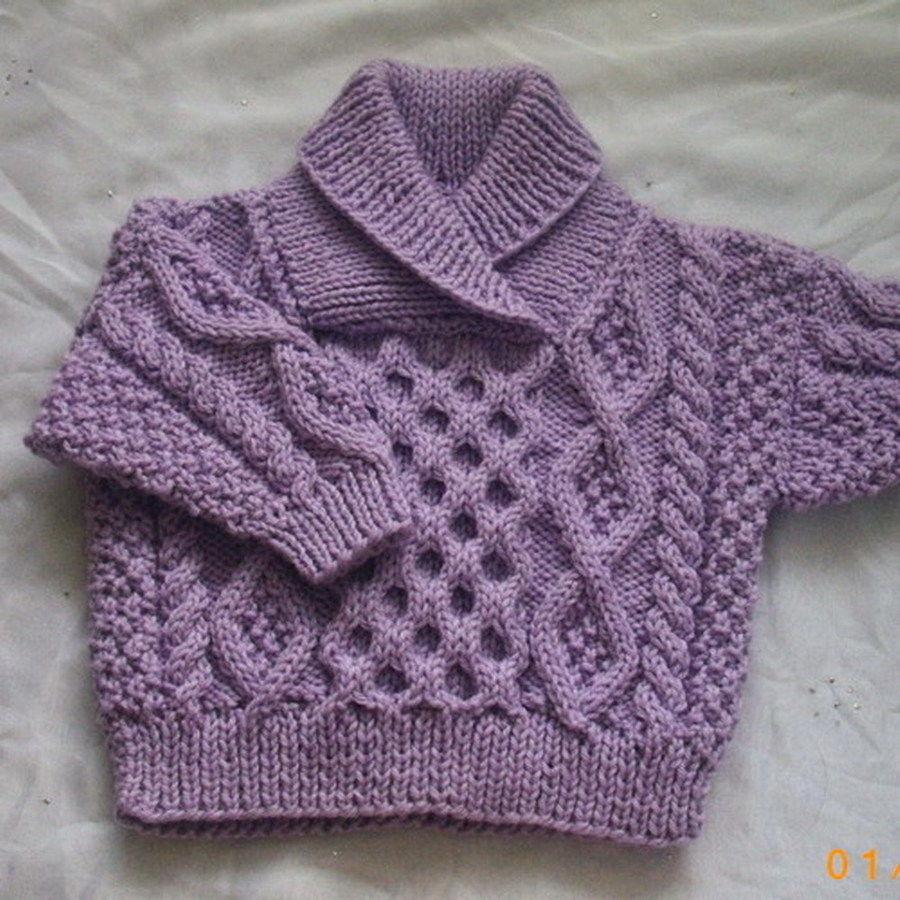 Aisling baby aran sweater - knitting pattern