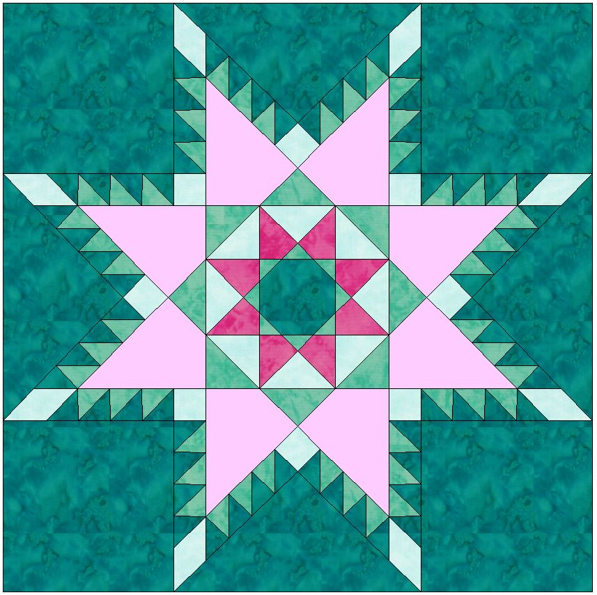 Peaceful hours Feathered Star Paper Piecing Foundation 10 Inch Block Pattern