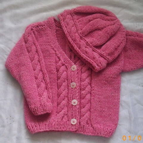 Roisin cable cardigan and hat - knitting pattern