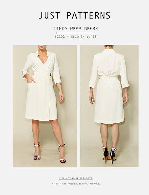 Just Patterns Linda Wrap Dress PDF Sewing Pattern at Makerist