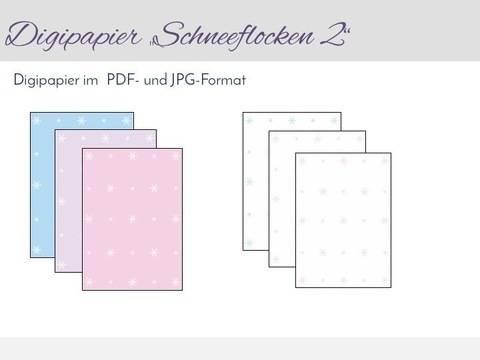 """Digipapier zum Ausdrucken """"Schneeflocken 2"""" im PDF- und JPG-Format"""