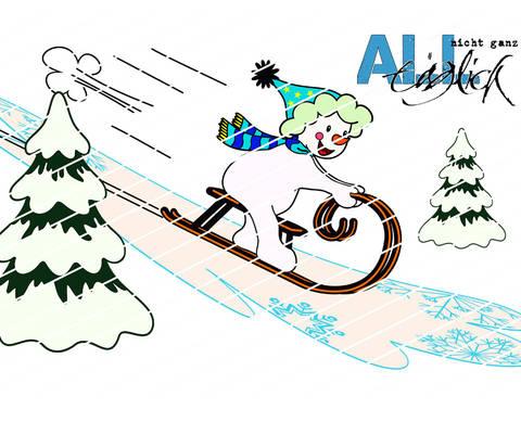 Winterzeit - Schneemann mit Schlitten Plotterdatei bei Makerist