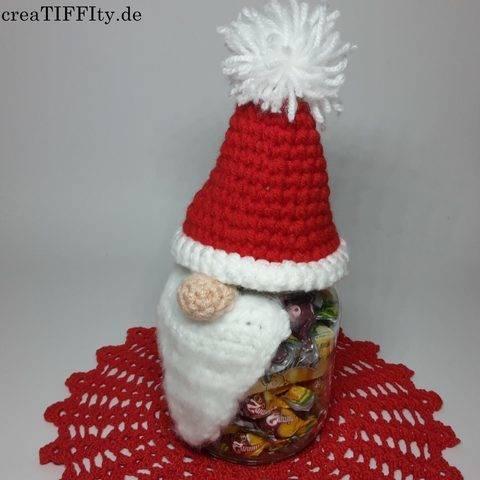 Bonbonglas Weihnachtsmann - Häkelanleitung