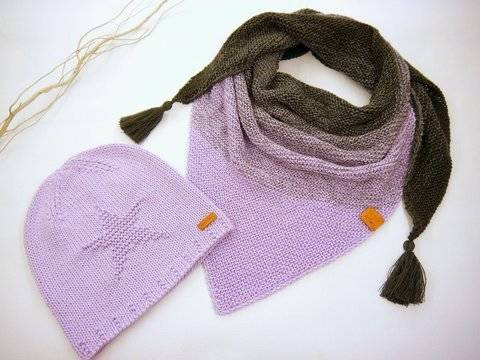 Strickanl.- Beanie & Dreieckstuch- Knitstar-Set- No.178S bei Makerist