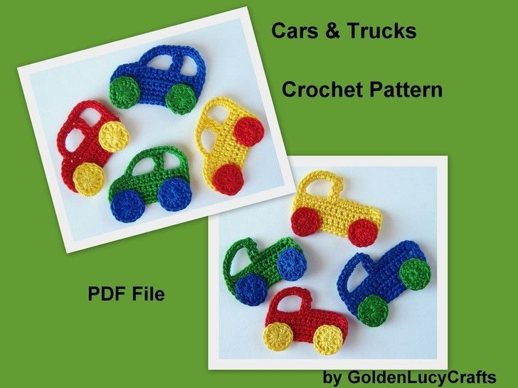 Crochet Pattern Car and Truck Applique at Makerist - Image 1