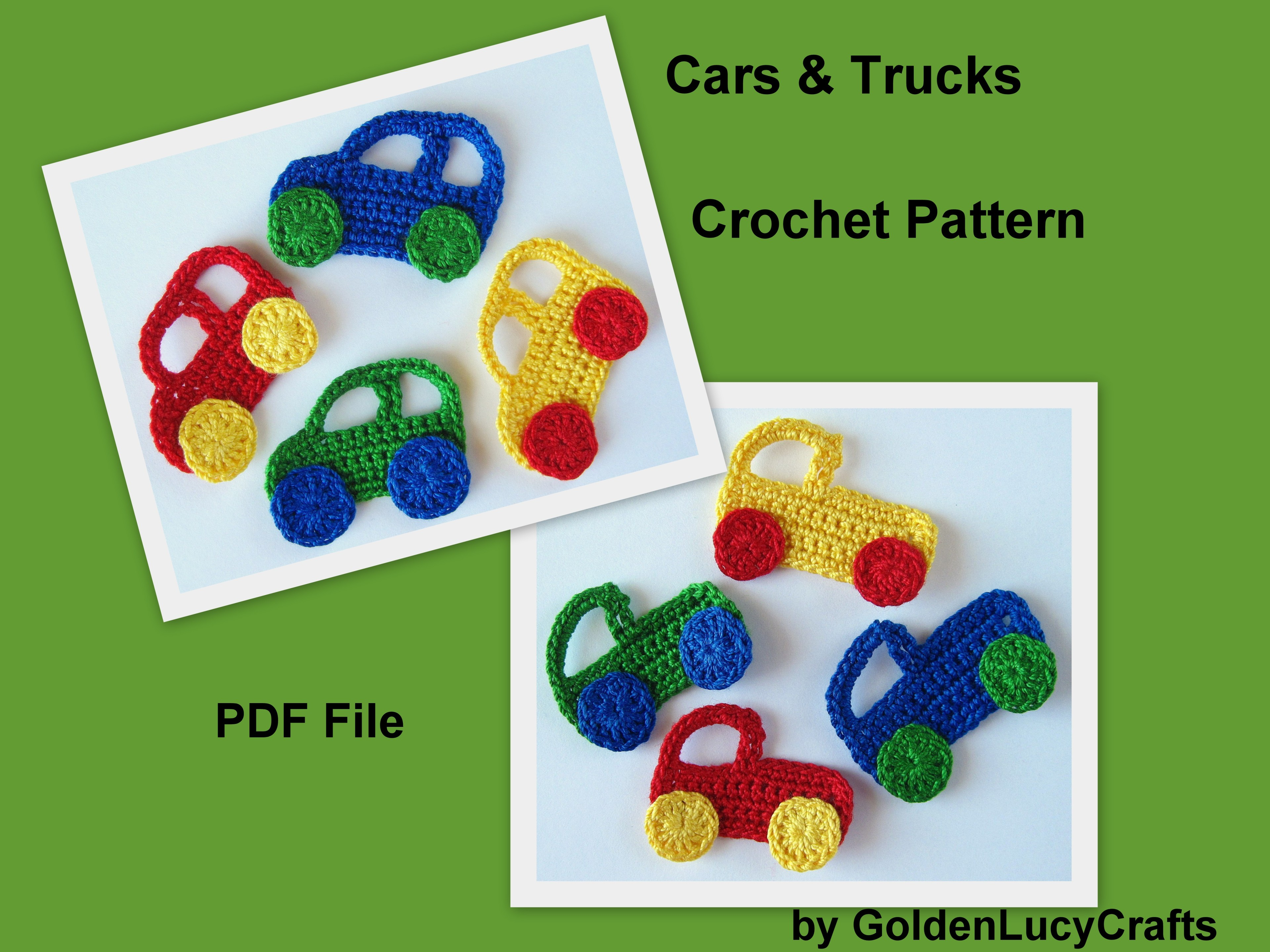 Crochet Pattern Car and Truck Applique