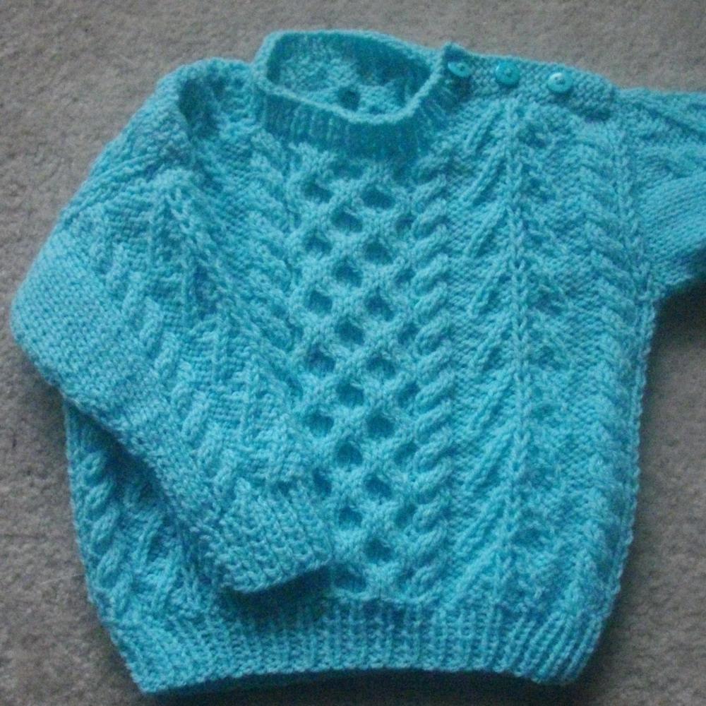 Gavin baby and toddler aran sweater - knitting pattern