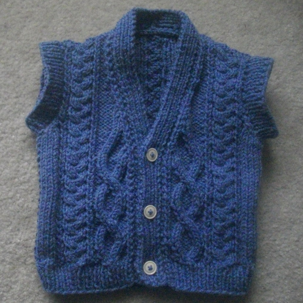 Nial sleeveless aran pullover - knitting pattern