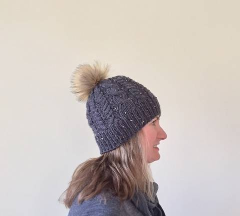 Tweed Cable Knit Beanie with Fur Pom Pom Knitting Pattern