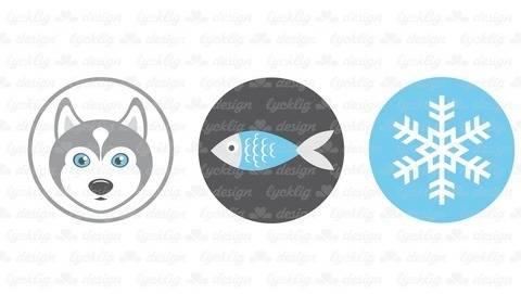 Plotterdatei Alaska Husky Fisch Schneeflocke bei Makerist