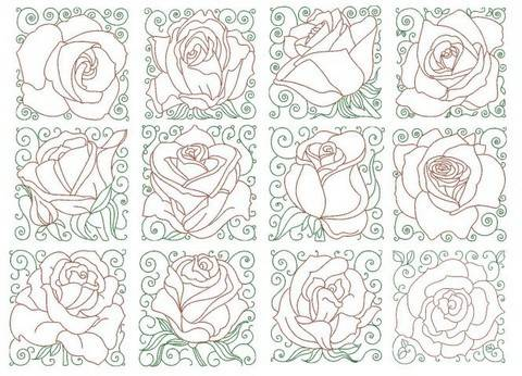 Stickdatei - Lovely Roses Blocks in PES