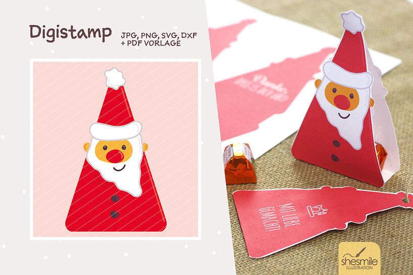 """Nikolaus """"Santa Surprise"""" (Digistamp, Plotterdatei und Druckvorlage) bei Makerist - Bild 1"""