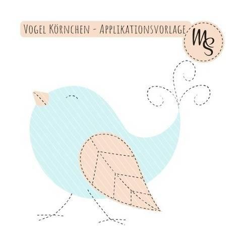 Vogel Körnchen - Applikationsvorlage
