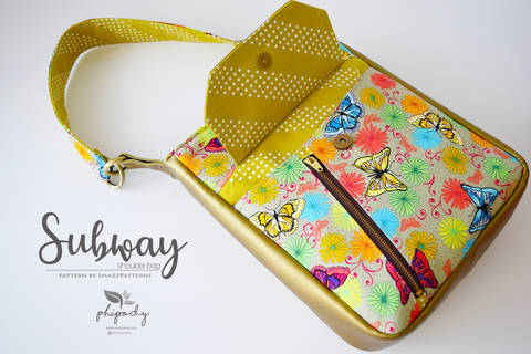PDF pattern - SUBWAY Shoulder bag + Cross-body Bag - 2 sizes. Suitable for all. Detailed, easy to-follow instructions, lots of photos.