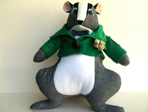 Stuffed Animal Badger with Jacket Sewing Pattern