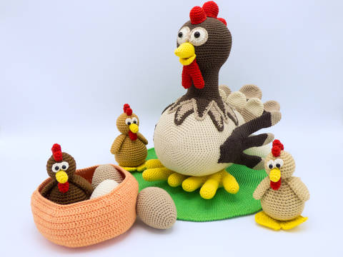 Häkelanleitung: Set Henne Berta und Hühnchen bei Makerist