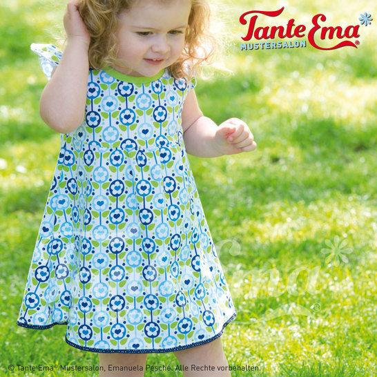 ba78e3420f Kinder-Sommerkleidchen mit Flügelärmeln in den Größen: 98 bis 128,  Nähanleitung und Schnittmuster