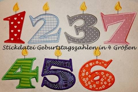 Stickdatei Geburtstags Zahlen Kerze in 4 Größen