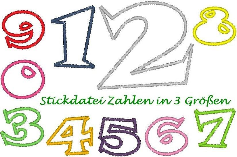Stickdatei Zahlen in 3 Größen bei Makerist - Bild 1