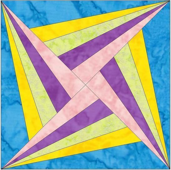 Hc Log Cabin Star 3 10 Inch Paper Piece Foundation Quilting Block Pattern